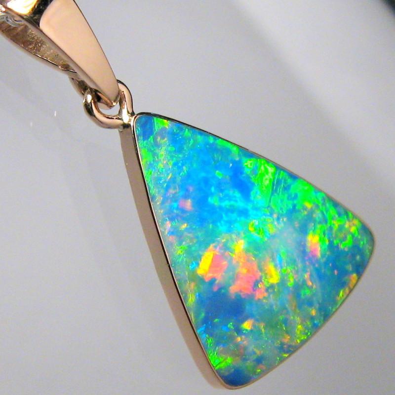 Australian Opal Pendant 4.95ct 14k Rose Gold Inlay Jewelry C01