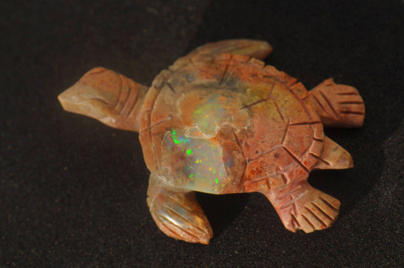 30ct Turtle Mexican Matrix Cantera Multicoloured Fire Opal
