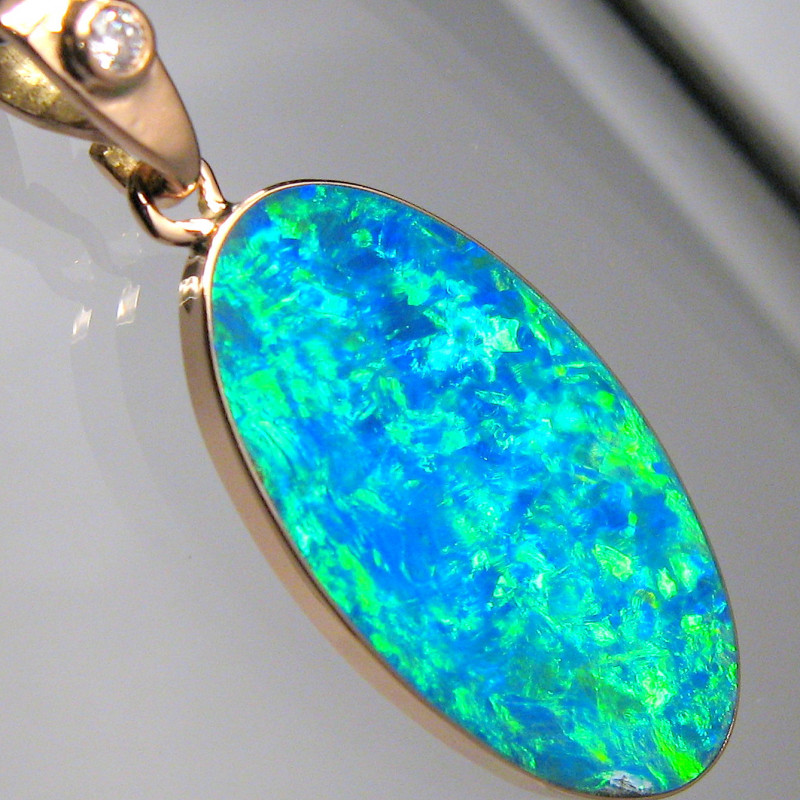 Genuine Australian Opal & Diamond Pendant Inlay Jewelry 14k Rose Gold 7.2ct