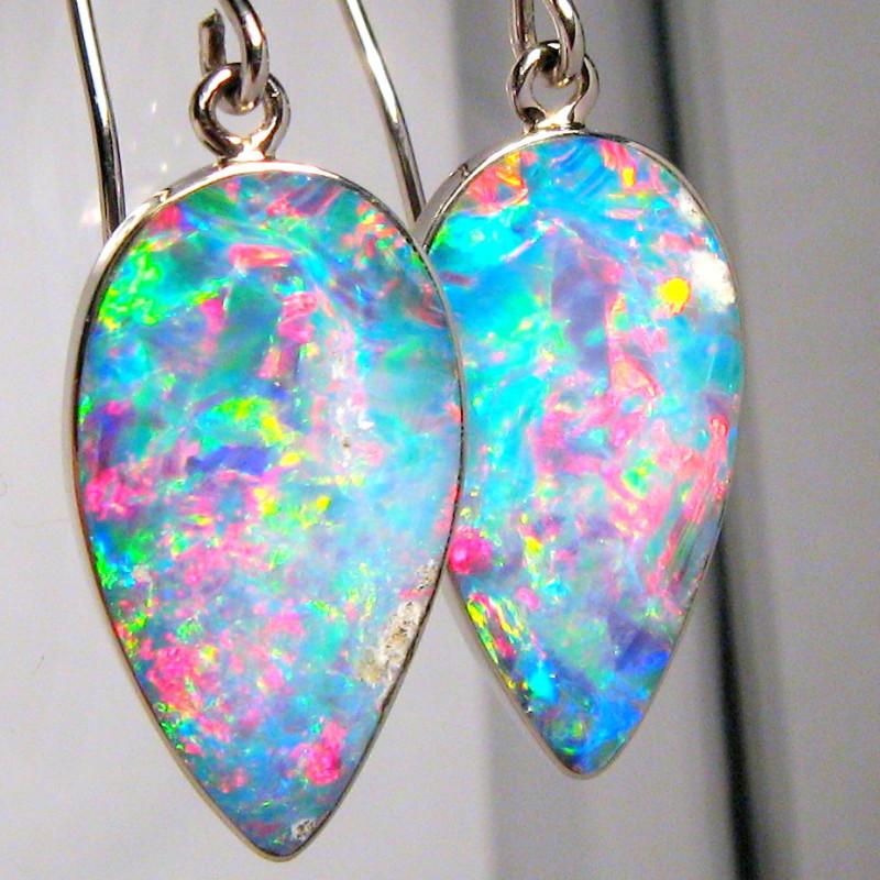 Australian Opal Earrings 10.55ct 14k White Gold Quality Inlay Jewelry Gift