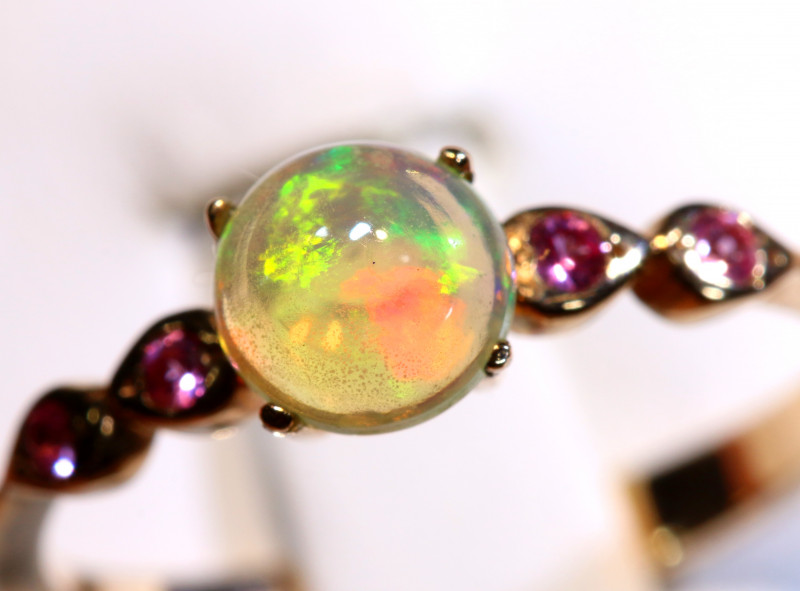 7.68 CTS -ETHIOPIAN OPAL RING / COPPER OF-2653