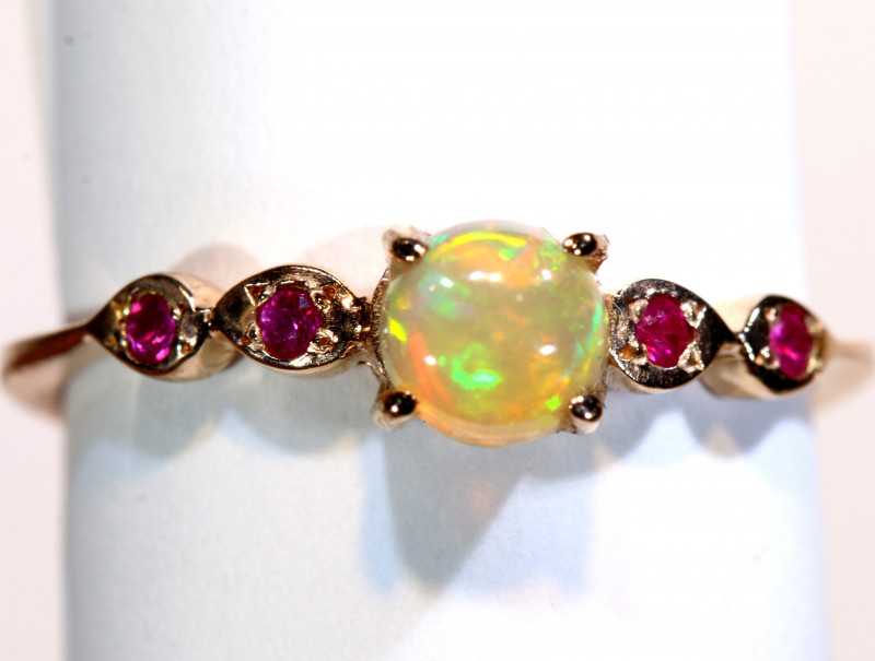 7.41CTS -ETHIOPIAN OPAL RING / COPPER OF-2654