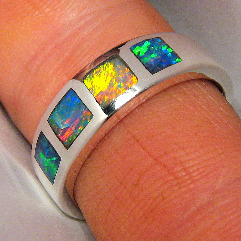 Genuine Australian Opal Ring Silver Inlay Mens Ring 5.4g faulty stock