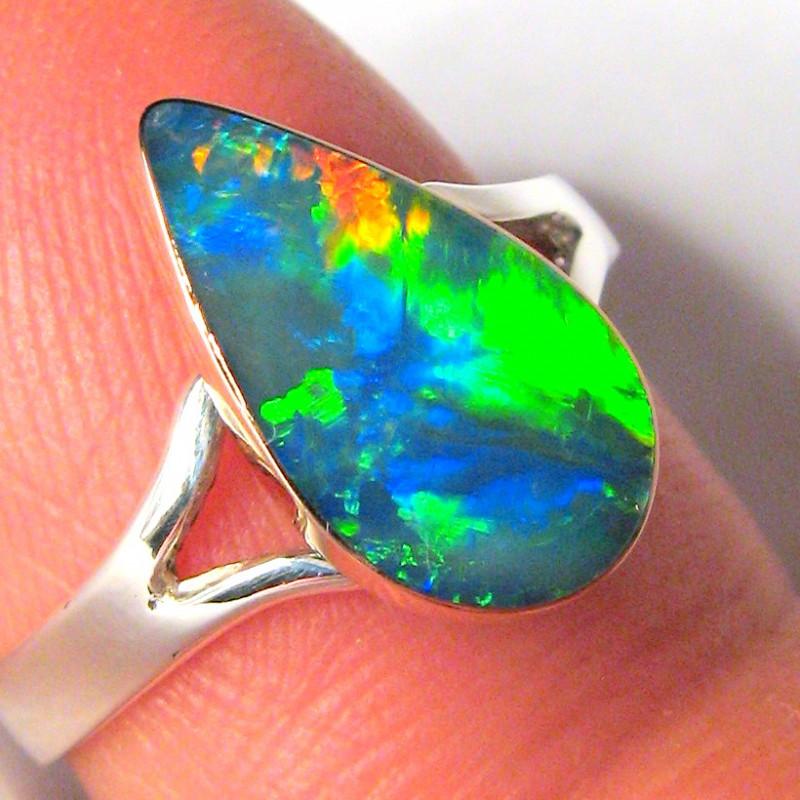 Australian Opal Ring Two Tone 1.6g Sz 6 14k Rose Gold & Silver C14