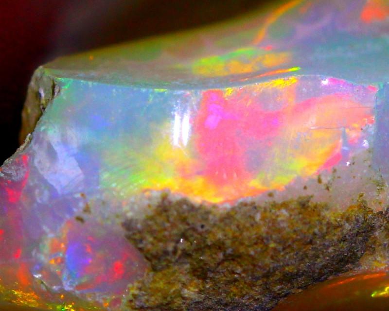 15.89Ct Multi Color Play Ethiopian Welo Opal Rough G0109