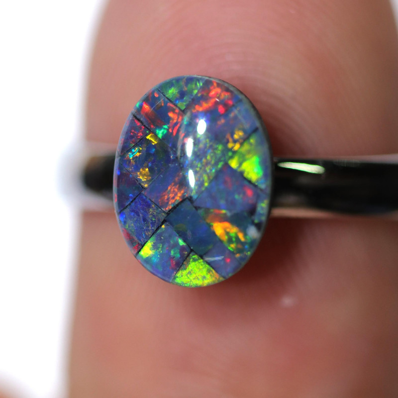 STUNNING MOSAIC TRIPLET ADJUSTABLE RING SIZE 6 TO 8  SOJREL