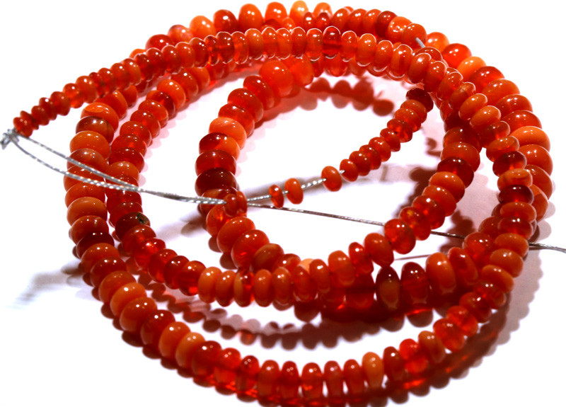 40CTS -MEXICAN  FIRE OPAL BEADS STRAND FOB-2058-FIREOPALBEADS