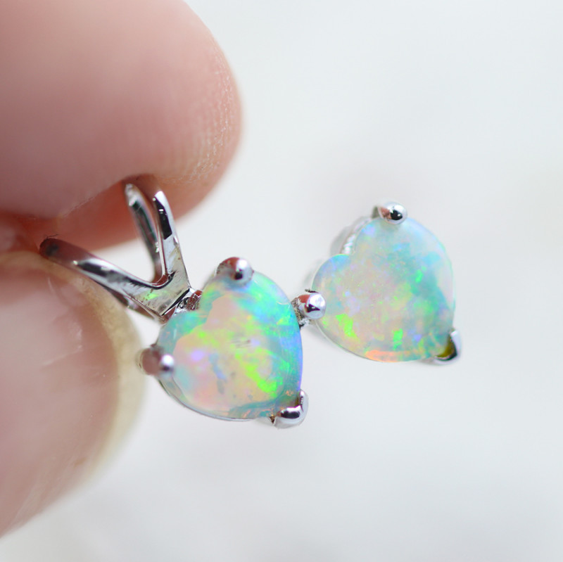 Gem Quality Double Heart 14K White Gold Opal Pendant - OPJ 2282