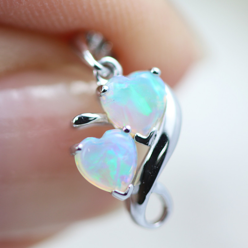 Gem Quality Double Heart 9K White Gold Opal Pendant - OPJ 2284