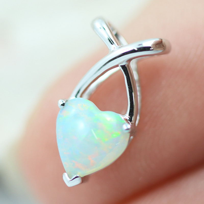 Gem Quality Heart 9K White Gold Opal Pendant - OPJ 2286