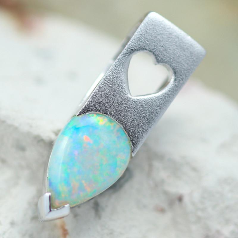 Gem Quality Heart 18K White Gold Opal Pendant - OPJ 2288