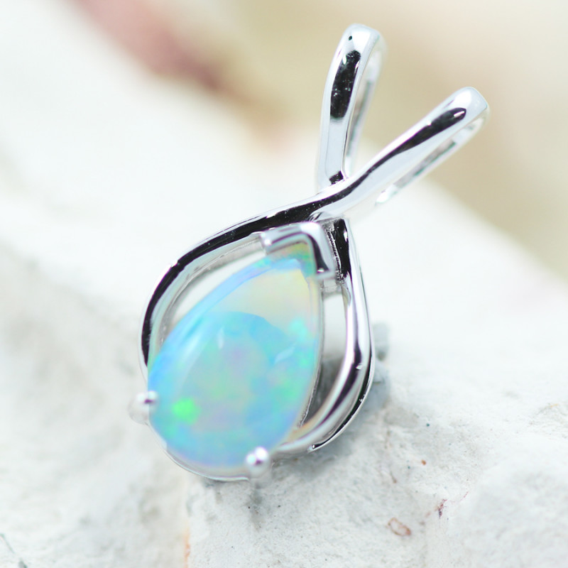 Gem Quality Heart 9K White Gold Opal Pendant - OPJ 2290