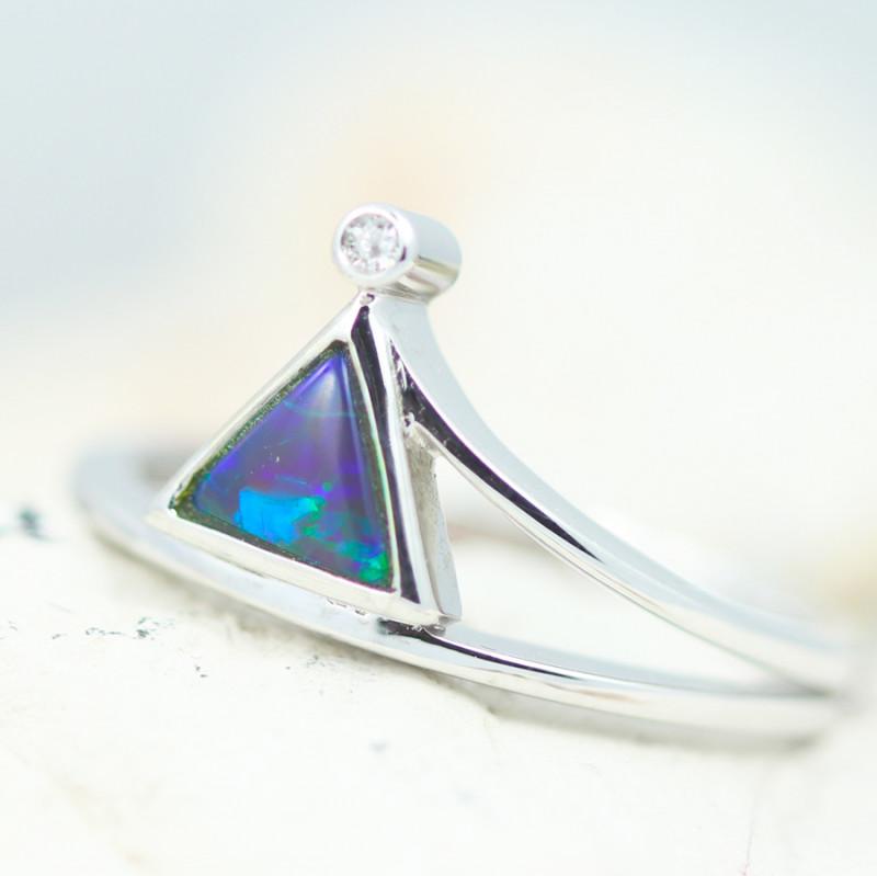 Boho Earth 18K White Gold Black Opal Ring - OPJ 2270
