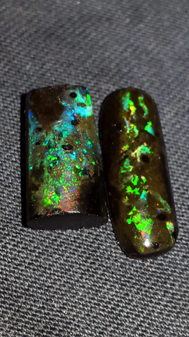 11.00 CRT 2 PCS FLOWER PLAY COLOR PIN FIRE INDONESIAN OPAL WOOD FOSSIL