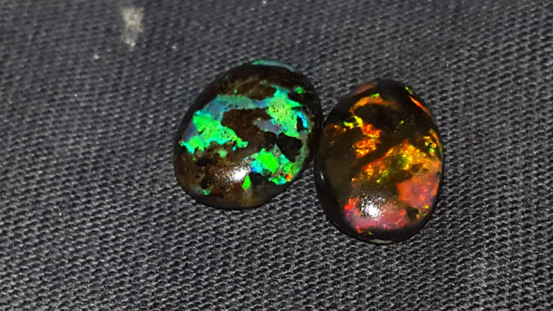 5.00 CRT 2 PCS ROLLING FLASH FIRE COLOR PATTERN INDONESIAN OPAL WOOD FOSSIL