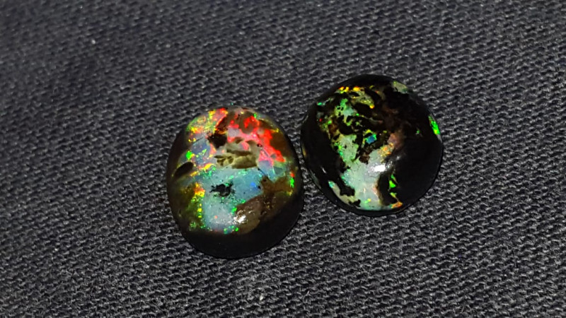 5.00 CRT 2PCS FLOWER PLAY COLOR SPECIMENT INDONESIAN OPAL WOOD FOSSIL