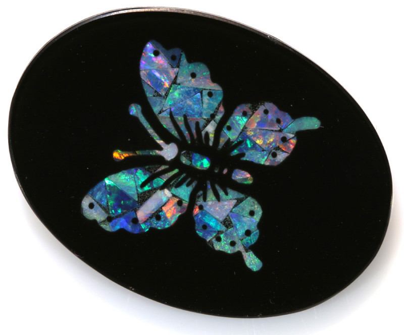 13.65-CTS BEAUTIFUL MOSAIC  BUTTERFLY OPAL INLAY   LO-5656