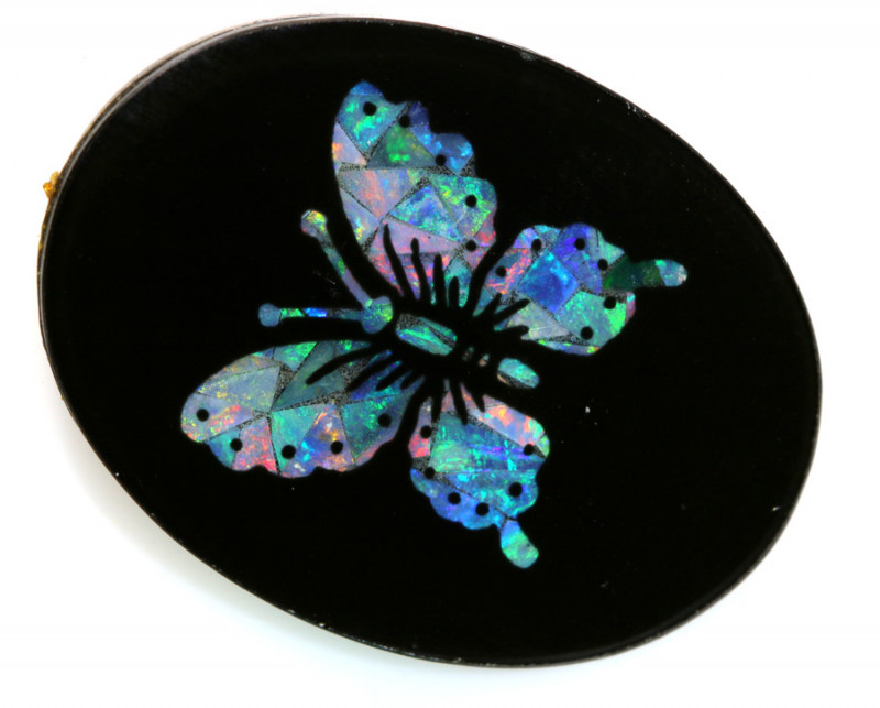 13.80 -CTS BEAUTIFUL MOSAIC  BUTTERFLY OPAL INLAY   LO-5658
