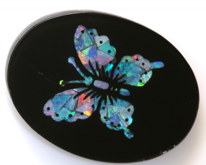 13.80-CTS BEAUTIFUL MOSAIC  BUTTERFLY OPAL INLAY   LO-5663