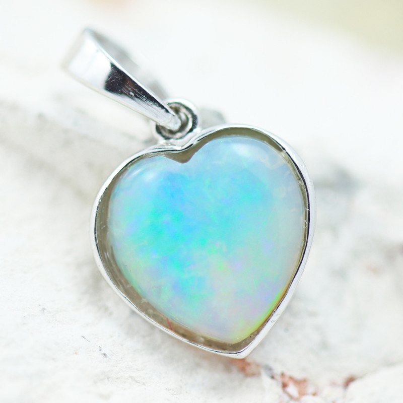Gem Quality Heart 10K White Gold Opal Pendant - OPJ 2641