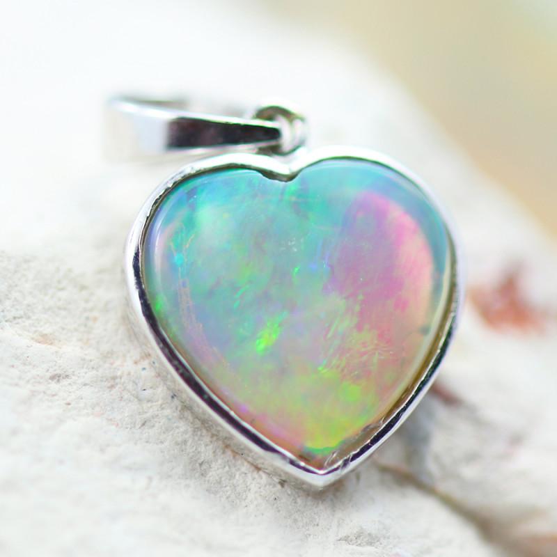 Gem Quality Heart 10K White Gold Opal Pendant - OPJ 2643