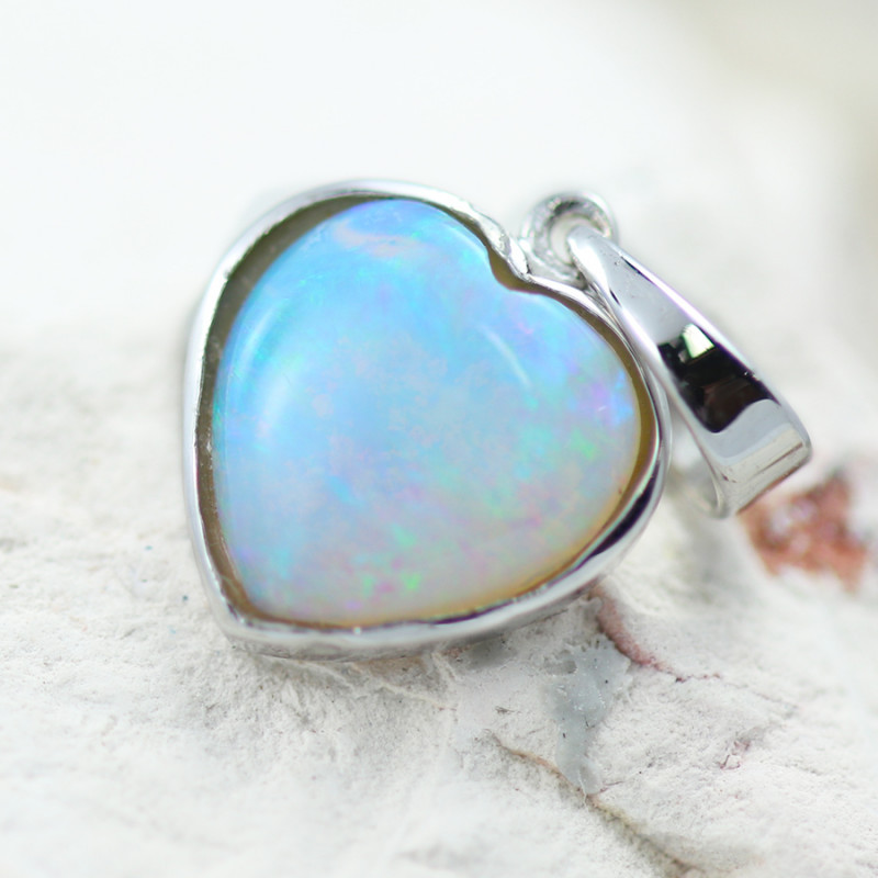 Gem Quality Heart 10K White Gold Opal Pendant - OPJ 2644