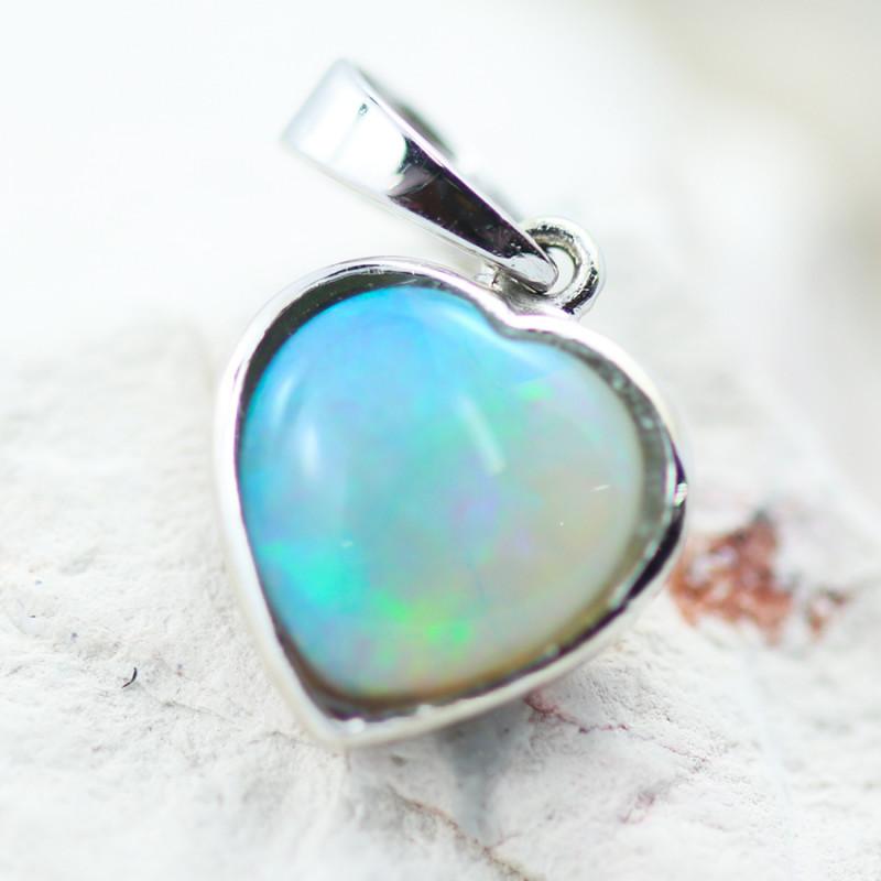 Gem Quality Heart 10K White Gold Opal Pendant - OPJ 2645
