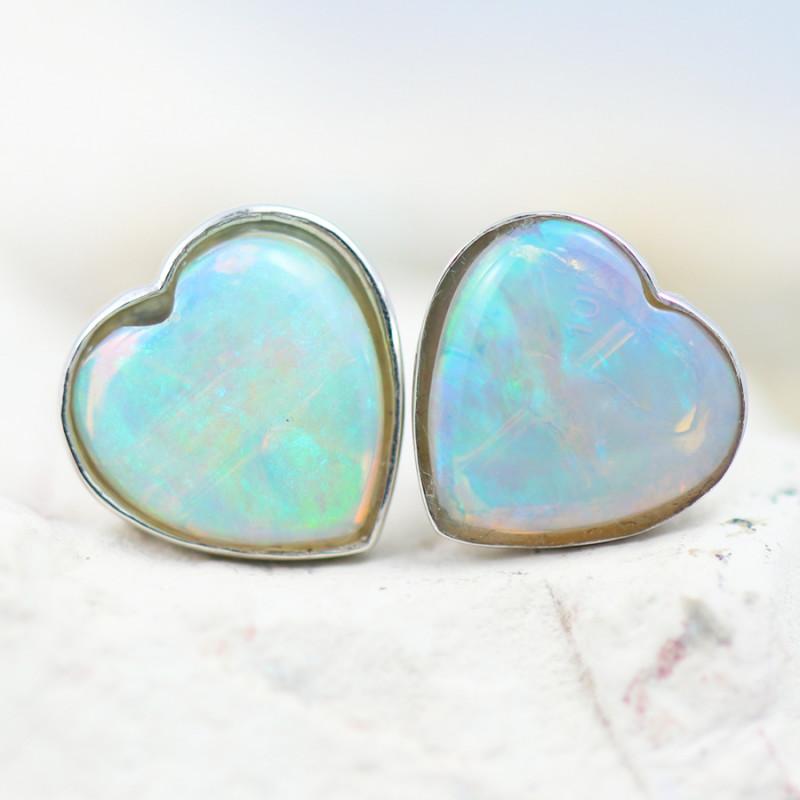 Gem Quality Heart 10K White Gold Opal Earrings - OPJ 2648
