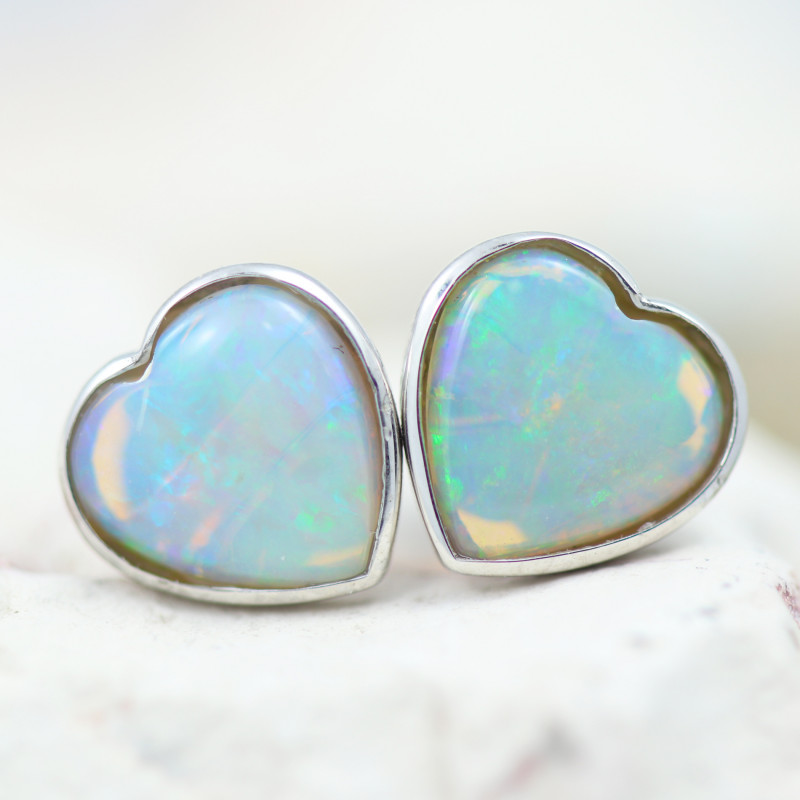 Gem Quality Heart 10K White Gold Opal Earrings - OPJ 2651