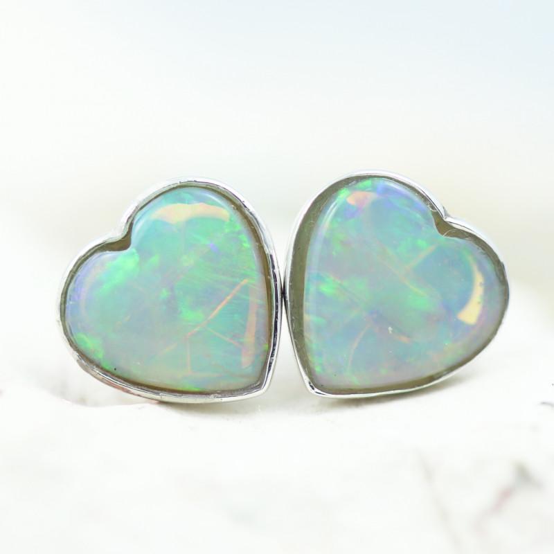 Gem Quality Heart 10K White Gold Opal Earrings - OPJ 2654