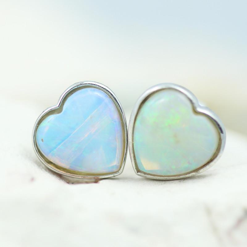 Gem Quality Heart 10K White Gold Opal Earrings - OPJ 2655