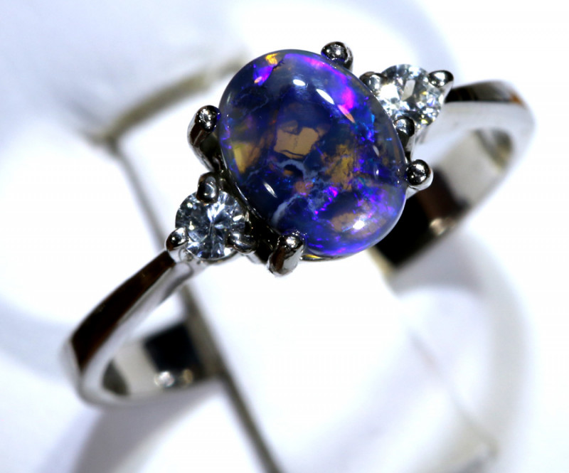 13.63- CTS  BLACK OPAL -SAPPHIRE  SILVER RING OF-2662
