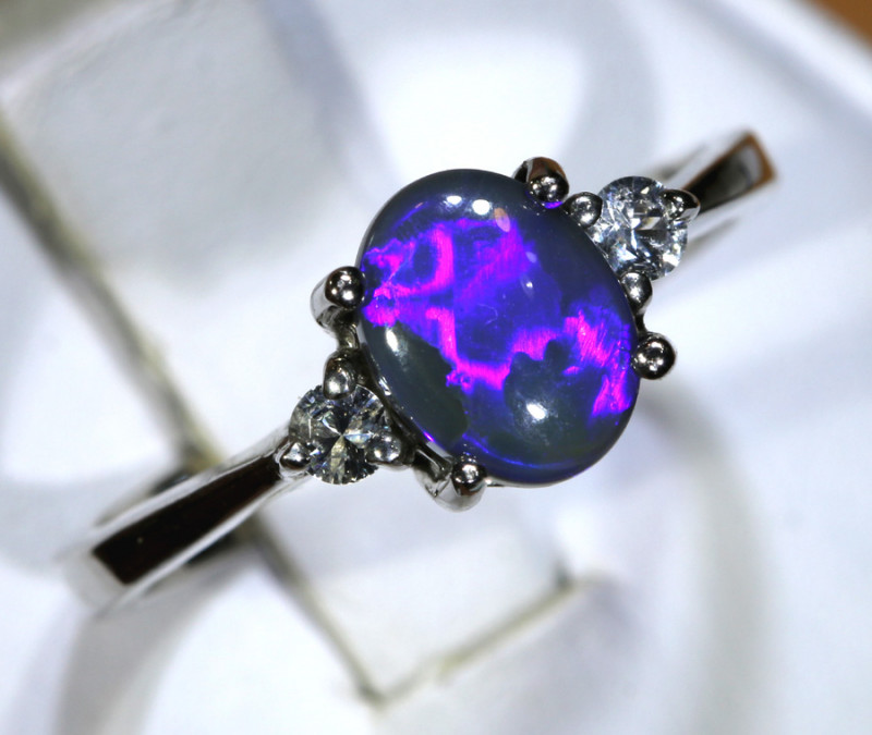 13.75 - CTS  BLACK OPAL -SAPPHIRE  SILVER RING OF-2666