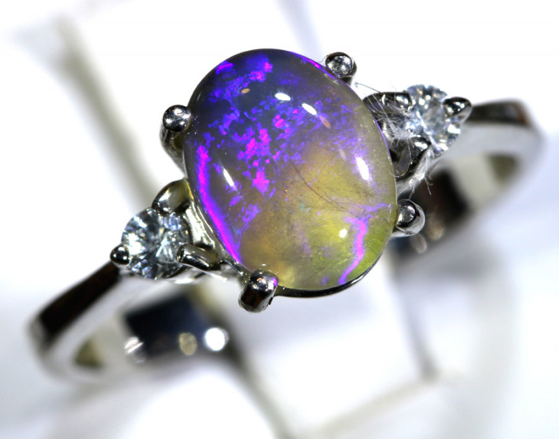16 - CTS  BLACK OPAL -SAPPHIRE  SILVER RING OF-2667