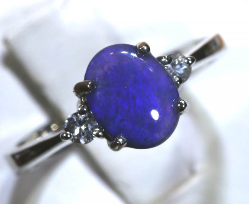 13.69- CTS  BLACK OPAL -SAPPHIRE  SILVER RING OF-2669