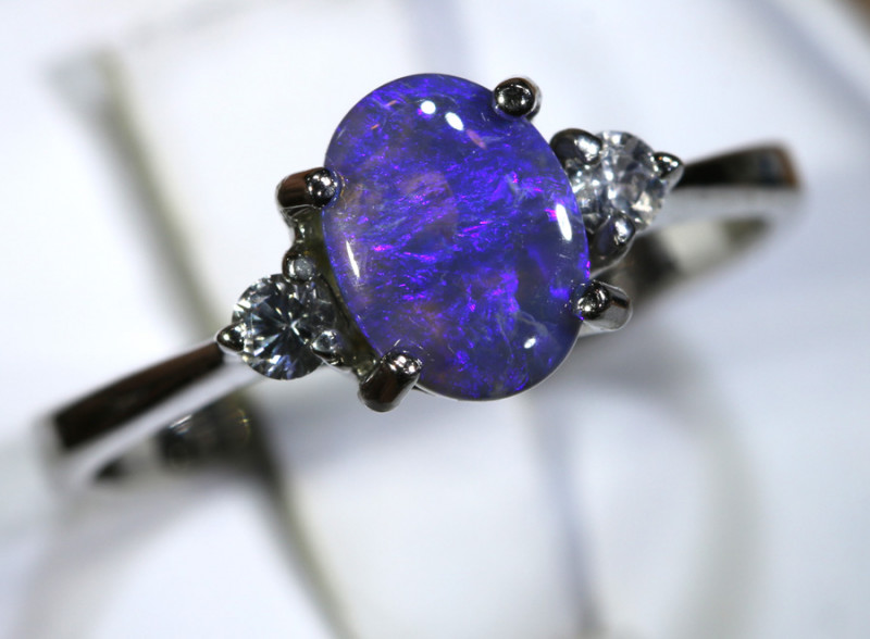 13.43- CTS  BLACK OPAL -SAPPHIRE  SILVER RING OF-2671