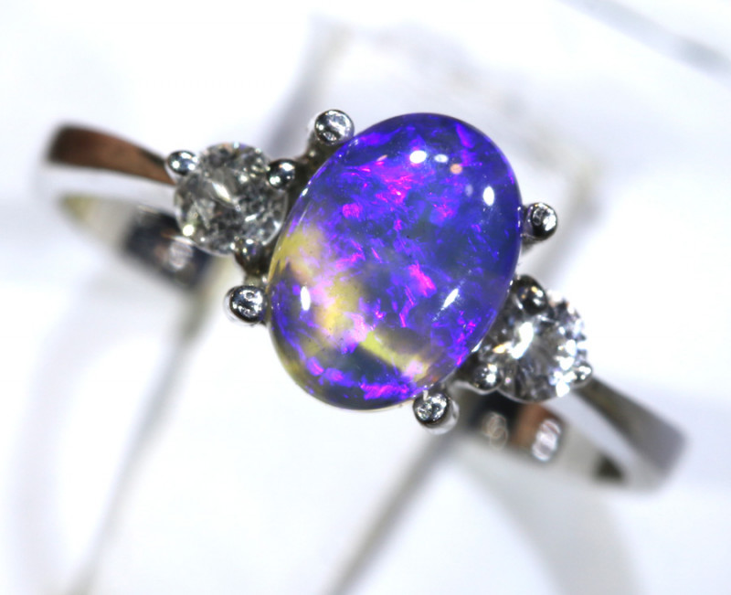 13.20 - CTS  BLACK OPAL -SAPPHIRE  SILVER RING OF-2675