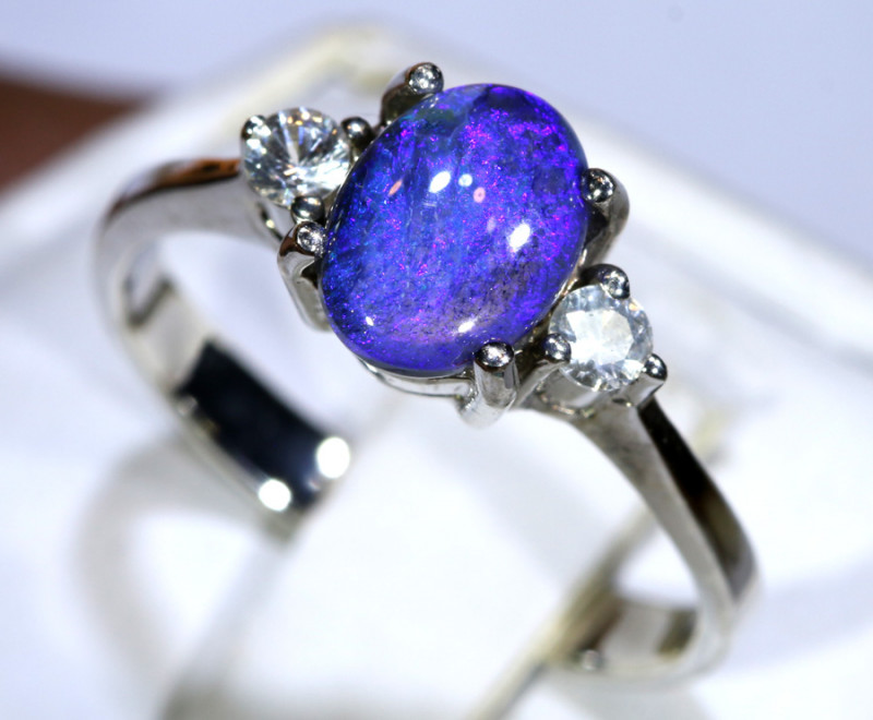 12.80- CTS  BLACK OPAL -SAPPHIRE  SILVER RING OF-2676