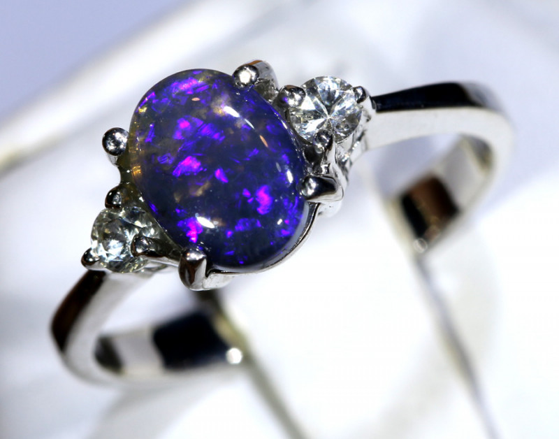 12.76- CTS  BLACK OPAL -SAPPHIRE  SILVER RING OF-2678