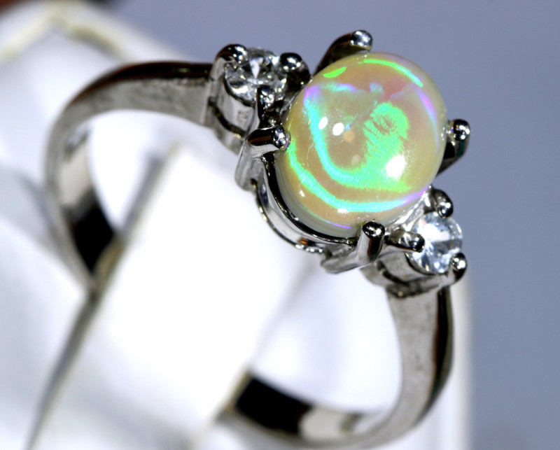 15.64- CTS  BLACK OPAL -SAPPHIRE  SILVER RING OF-2687