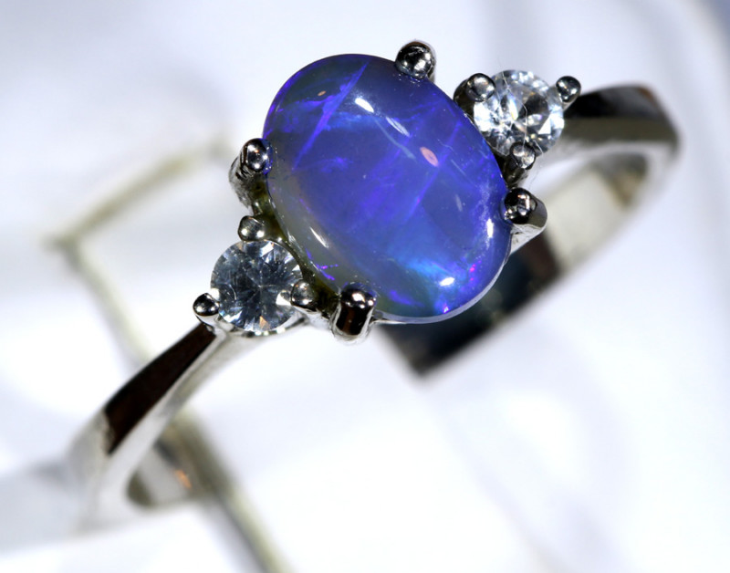 13.53- CTS  BLACK OPAL -SAPPHIRE  SILVER RING OF-2691
