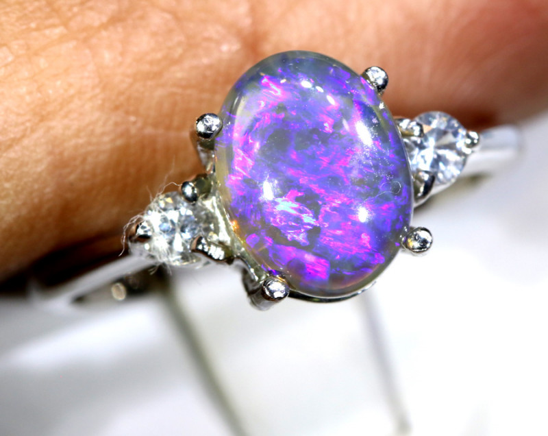 15.46- CTS  BLACK OPAL -SAPPHIRE  SILVER RING OF-2697
