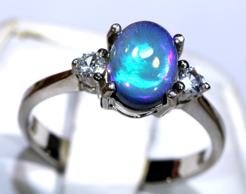 12.75- CTS  BLACK OPAL -SAPPHIRE  SILVER RING OF-2699