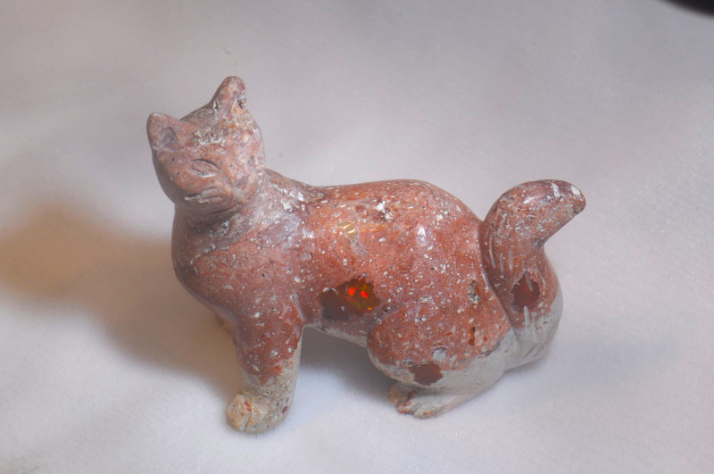 300ct. Cat Mexican Cantera Fire Opal Figurine