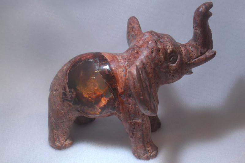 300ct. Elephant Mexican Cantera Fire Opal Figurine