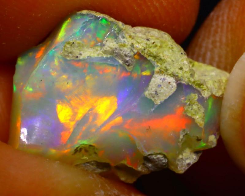 5.41Ct Multi Color Play Ethiopian Welo Opal Rough G0512