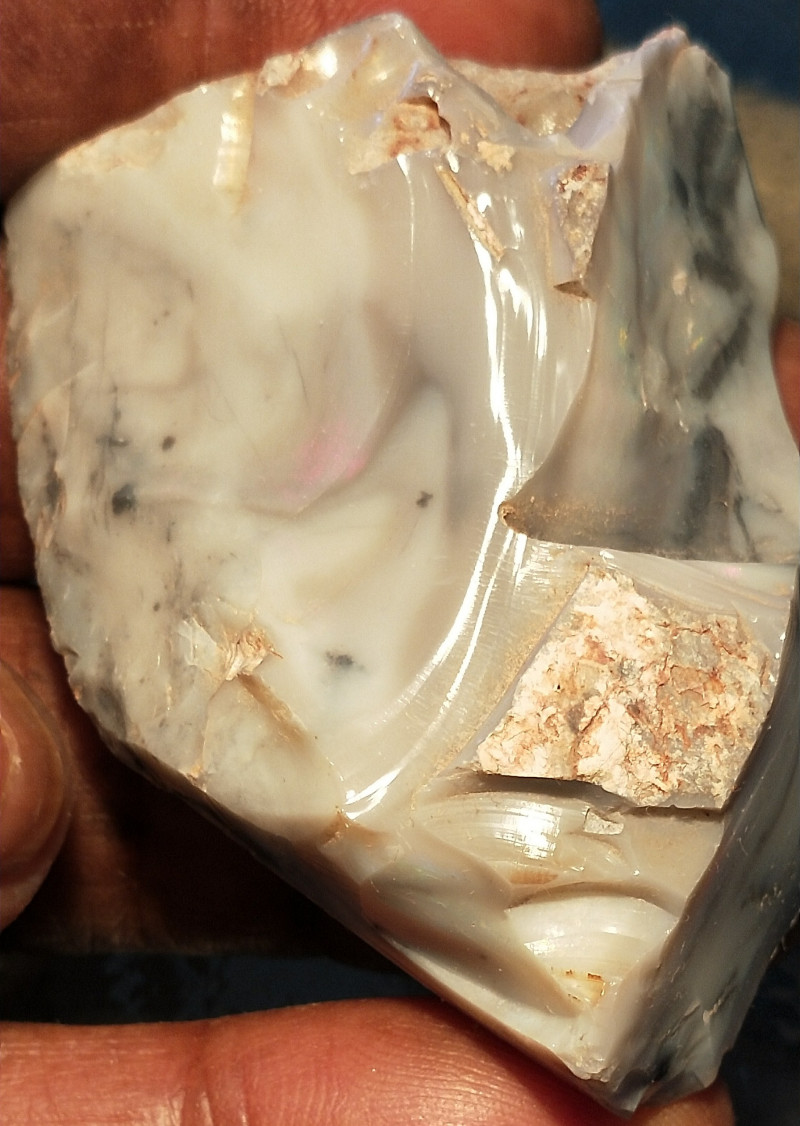 267Cts Lightning Ridge Grey Seam Opal with distant color  RUS-548