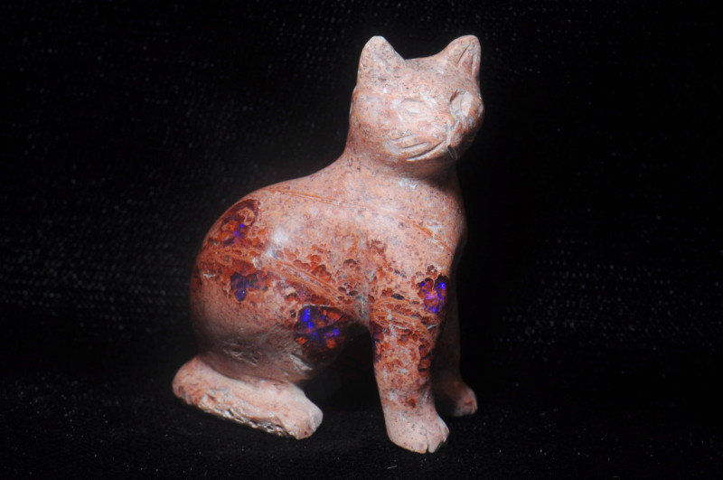200ct. Cat Mexican Cantera Fire Opal Figurine