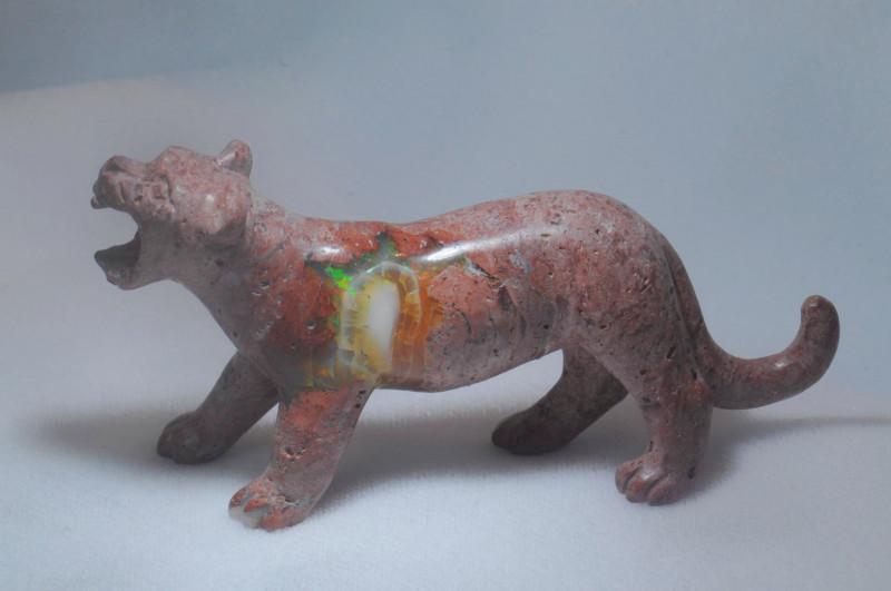 197ct. Jaguar Mexican Cantera Fire Opal Figurine
