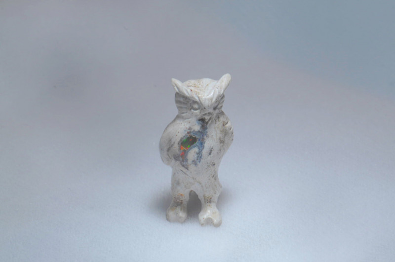 36ct. Owl Mexican Cantera Fire Opal Figurine